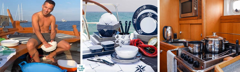 C'è chi cucina in barca a vela e chi lava i piatti. I metodi più usati per lavare i piatti in barca.